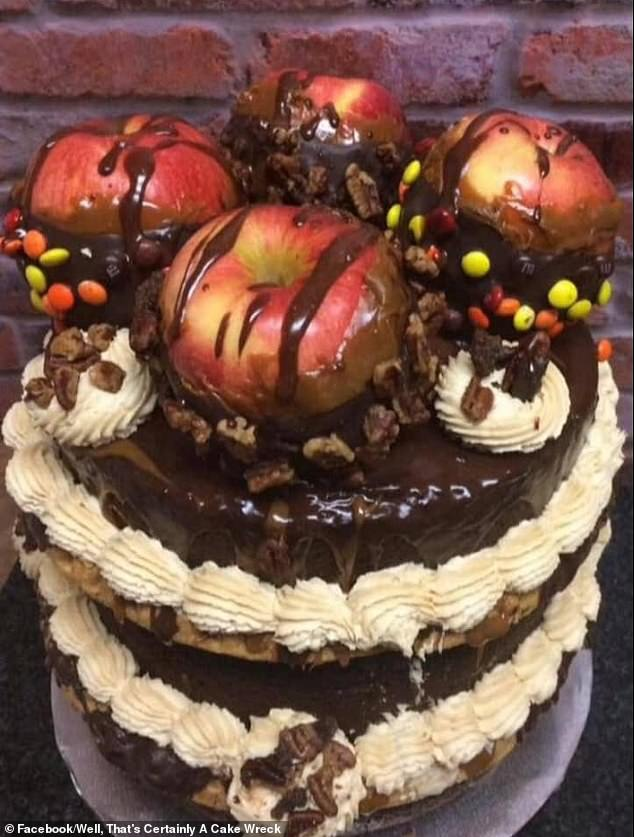 While a decent-enough looking cake, this treat was mocked for placing whole apples on top of it as decoration. It is unclear where the image was taken