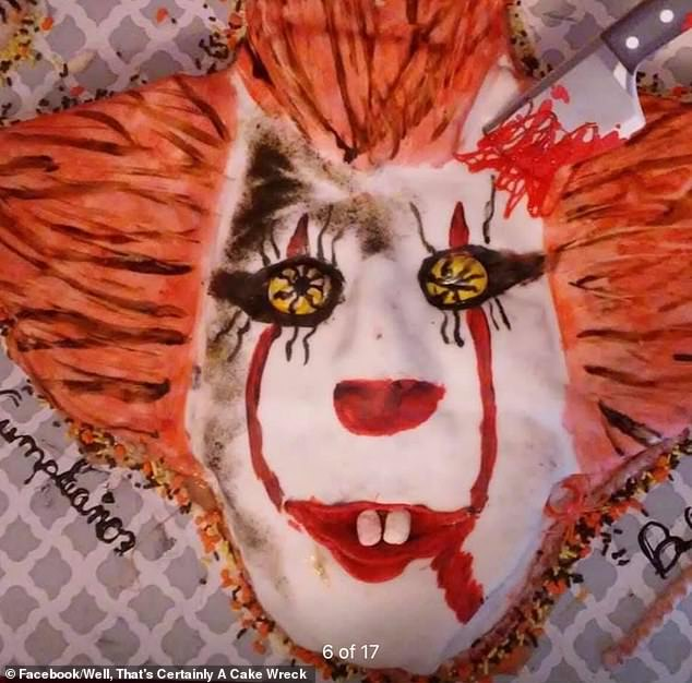 Full marks for effort, but this Pennywise cake, based on the character fromStephen King's 1986 horror novel It, provokes shock for all the wrong reasons