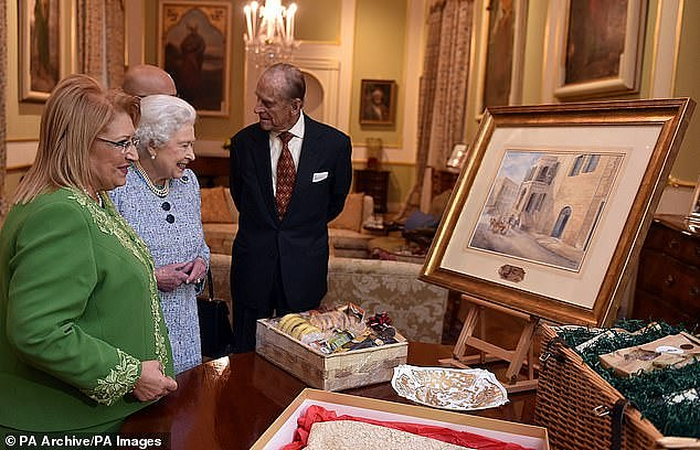 Former Maltese president Marie Louise Coleiro presented the Queen and Duke of Edinburgh with a watercolour of Villa Guardamangia during the trip in 2015, reminding them of their stay