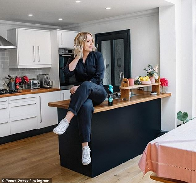 In this image, Poppy Deyes offers followers a view into her kitchen, including a glass panelled door which could be used by burglars as an entry point