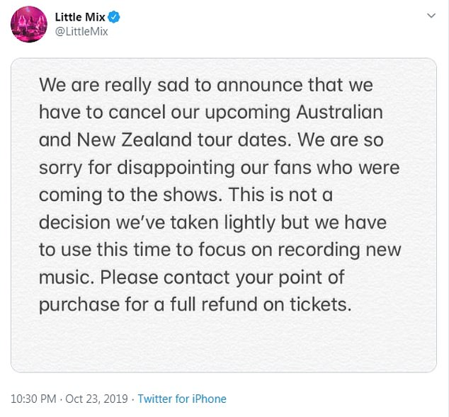 Apology:Their night on the town comes after the band were forced to cancel their upcoming tour dates in Australia and New Zealand , that were set to take place in December