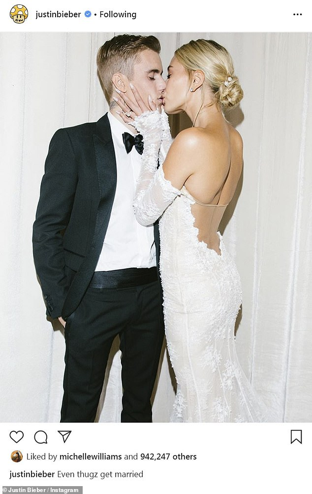 She explained herself:'Me sharing my story is exactly what I've always done. I can't be unauthentic. I can't pretend that I'm not going through something when it's obvious that I had been,' said Gomez; here Justin and Hailey are seen on their wedding day