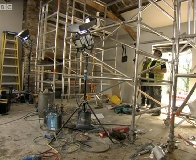 This shows the transformation of the main room from as they got to work (left) to when they had completed the development (right)