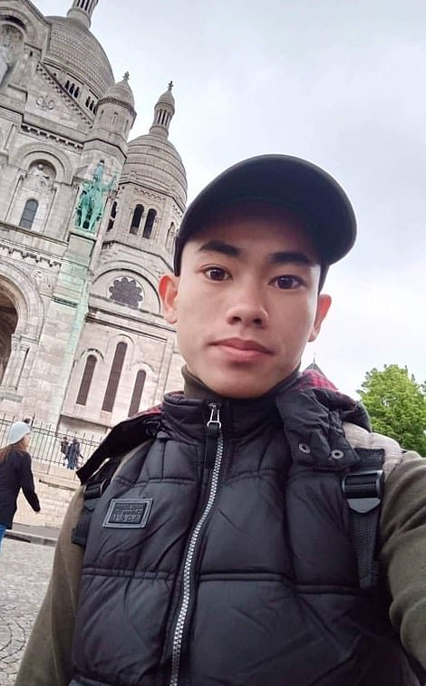 Nguyen Dinh Luong, 20, pictured at Montmartre in Paris planned to work in a nail salon when he got to Britain