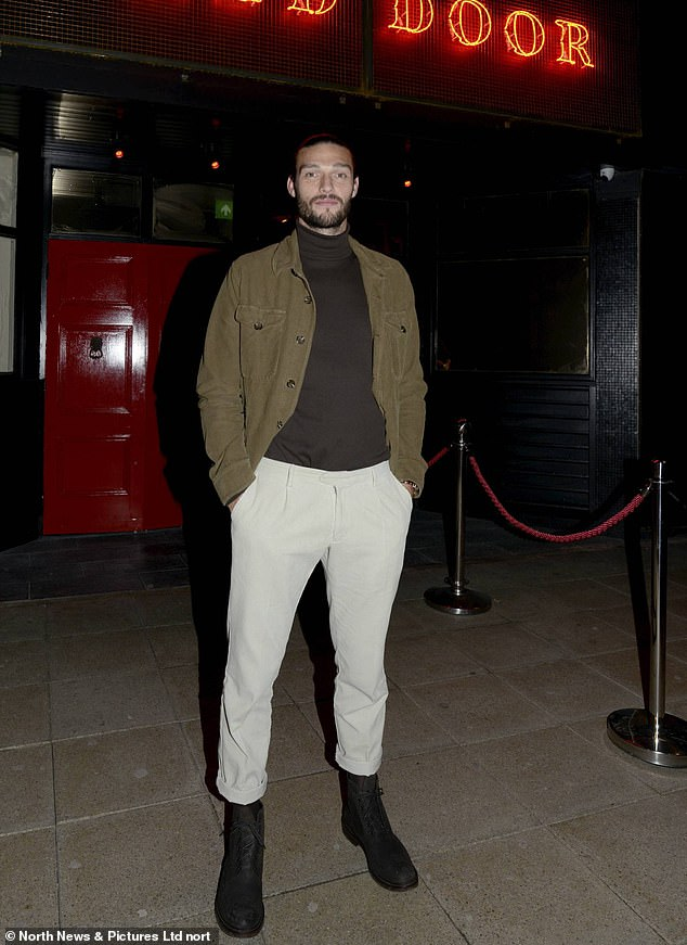 Celebrations: Andy Carroll looked dapper in a khaki jacket as he too attended the bash