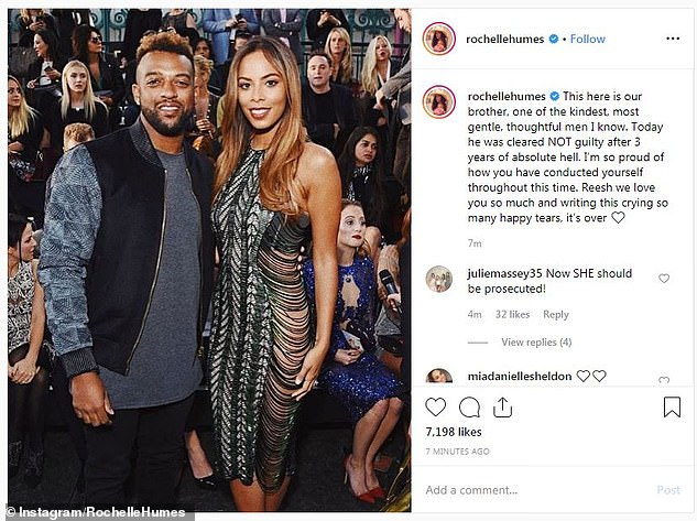 'I'm so proud': Rochelle Humes also took to Instagram to state how 'proud' she was of Mr Williams (the pair pictured above) following the trial