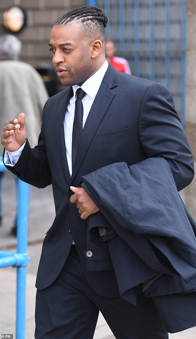Relief: Oritsé was cleared of raping a woman. He is pictured leaving Wolverhampton Crown Court in May following the verdict