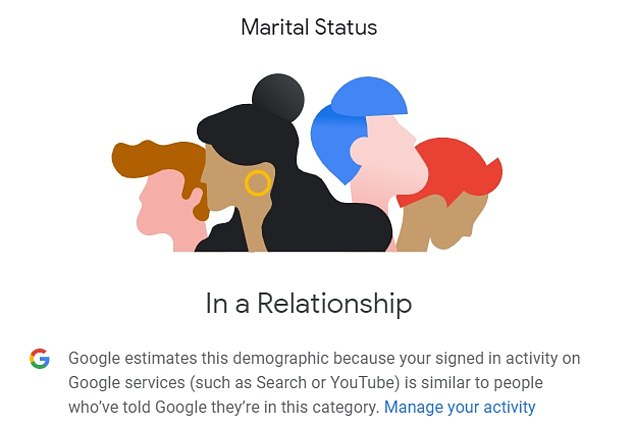 It also reveals what relationship status Google thinks you have