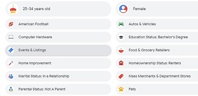 When journalist Bridie looked at her Google profile, it had correctly gleaned that she wasn't a parent but suggested she was an American football fan...something that she says is incorrect