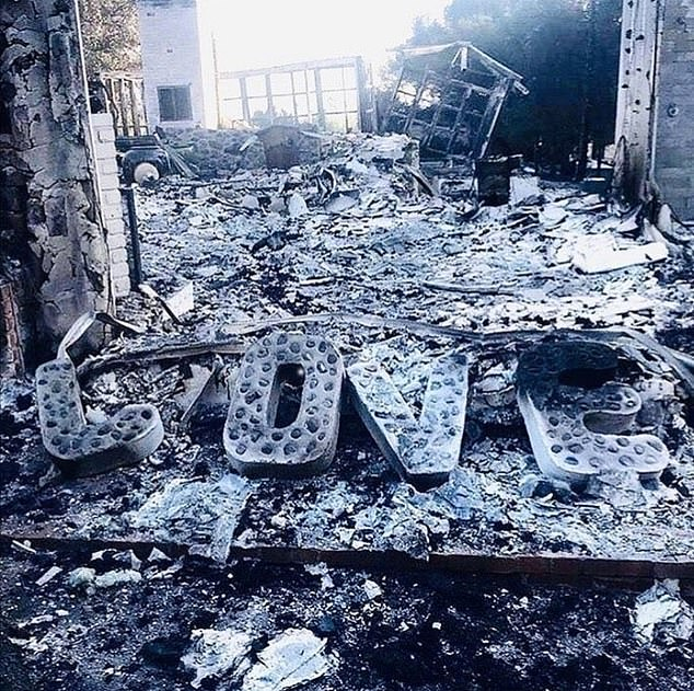History: Liam first bought their sprawling Malibu estate in late 2014 for $6.8M, with Miley buying the ranch next door for $2.5M. Pictured: Liam's home after it burnt down in 2018