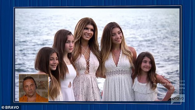 Mother and daughters: Teresa was shown with her four daughters while Joe was in prison