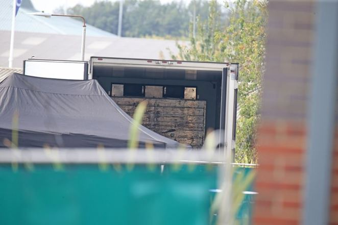 Photos show the inside of the refrigerated trailer where 39 people were found dead in the early hours of Wednesday morning