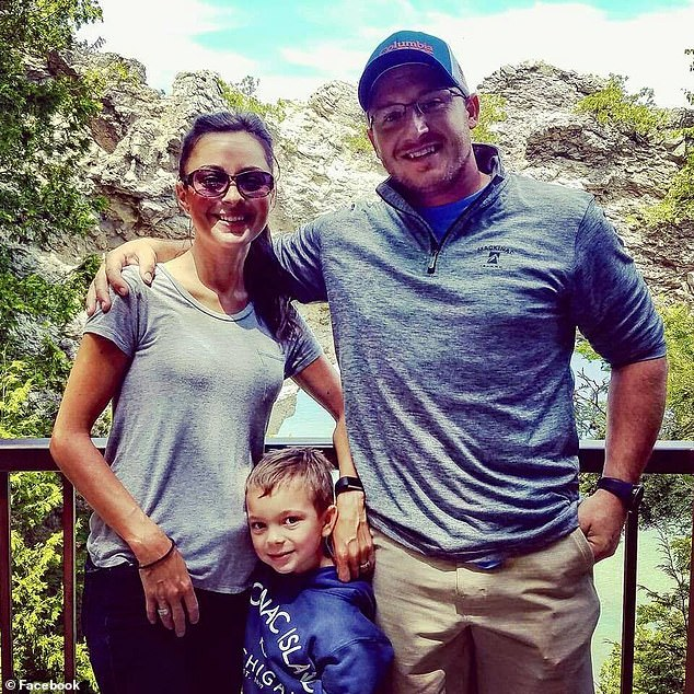 Camre, now 31, suffered eclampsia, a rare condition from high blood pressure during pregnancy, while carrying her son, Gavin (center), now seven. When She awoke, Camre had no memory of giving birth, who Gavin was or even who her husband, Steve (right) was