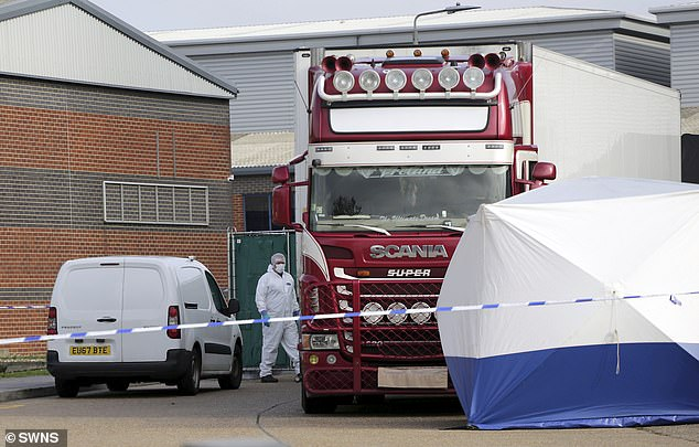 Anti-trafficking experts last night warned that victims' relatives are being held ransom by 'highly sophisticated and organised' smuggling networks to whom they owe up to £30,000. The scene at Waterglade Industrial Park in Grays, Essex last week is pictured above