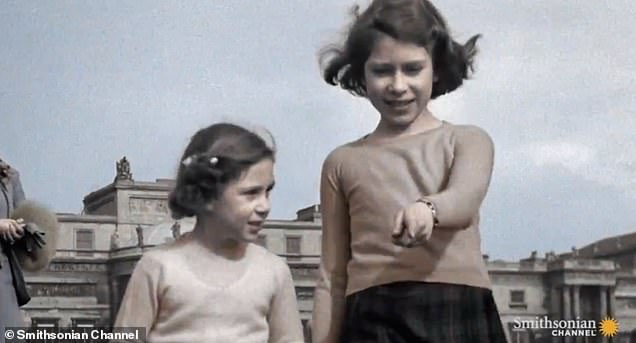 The series also reveals the earliest known original colour footage of the Queen, then Princess Elizabeth, playing in a Piccadilly garden in London with her sister Margaret