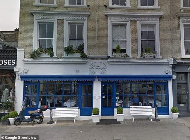 Location: Chelsea restaurant, La Famiglia, pictured on Google Street View, where Simon's 60th party was due to take place