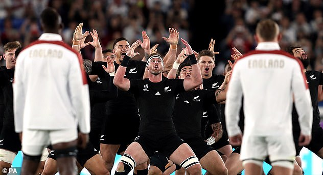 The referee even had to warn England player Joe Marler and his team-mates to move back in order to allow the Kiwis to carry out their famous routine (pictured) before the crucial semi-final