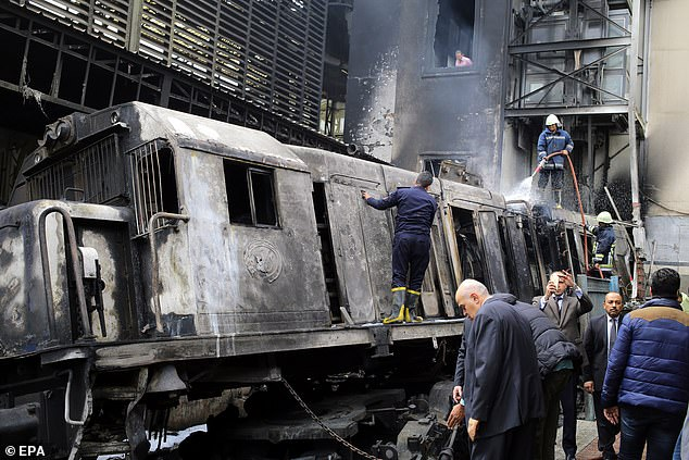 The Transport  Wazir was appointed by Egyptian President Abdel Fattah al-Sisi after a train crash at Cairo's central station killed 22 people in February (pictured). He wanted to introduce tougher fines