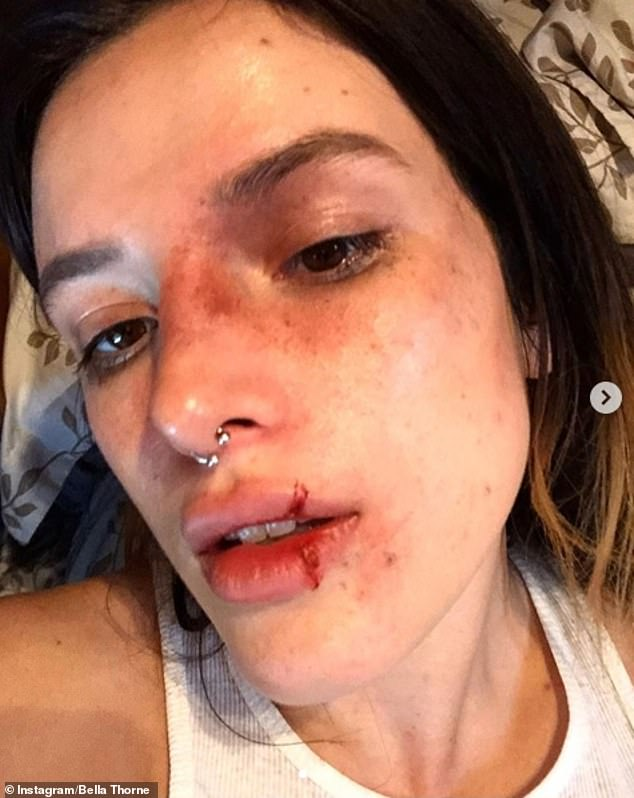 Haunting:Bella Thorne showed off her dramatic Halloween makeover in a series of chilling selfies on Tuesday