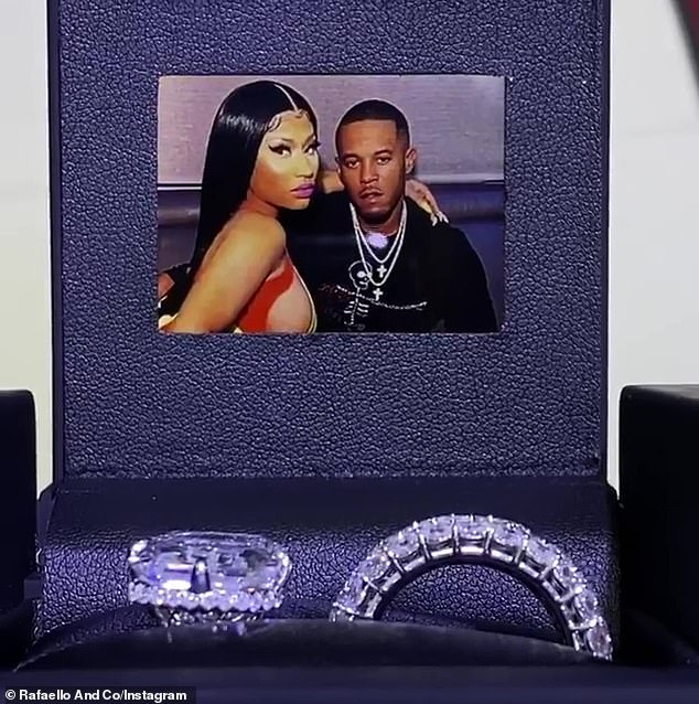And now for a closeup:Jewelers at Rafaello said that Nicki's new husband Kenneth Petty oversaw the design of the wedding band as well as the finished piece's delivery, handing over what is estimated to be $1.1 million