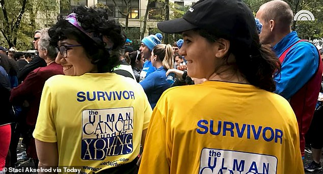 Akselrod is now cancer-free and is encouraging other women to push for screenings if they believe something is wrong. Pictured: Akselrod, left, with a friend