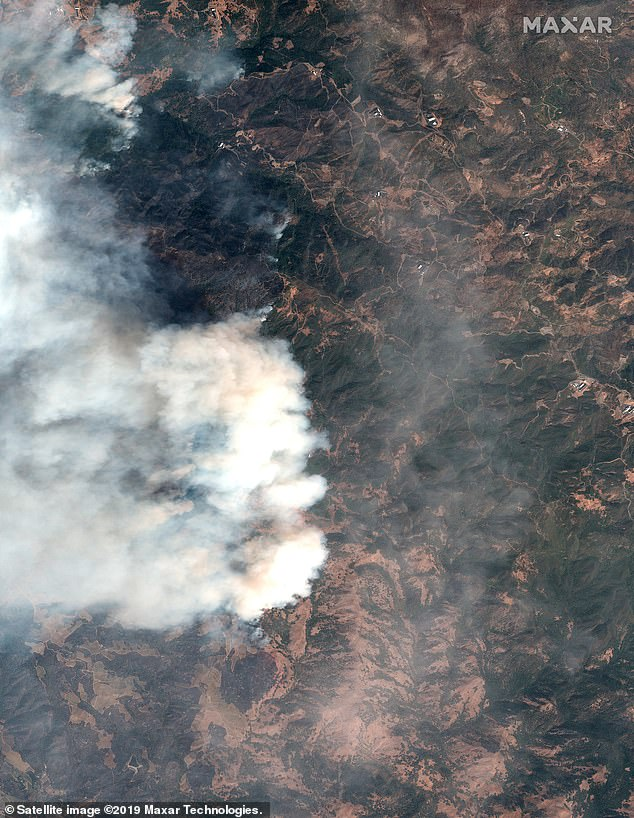 This satellite image shows the Kincade Wildfire from space. As of Thursday Morning Cal Fire says the Kincade fire spans 76,825 acres and is 60% contained and has destroyed 282 structures
