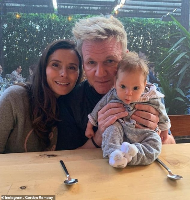 Family:Gordon, pictured with Tana and Oscar, said in an interview with Jonathan Ross that he's only been at the birth of his youngest as his wife didn't want him to see her 'in this state'