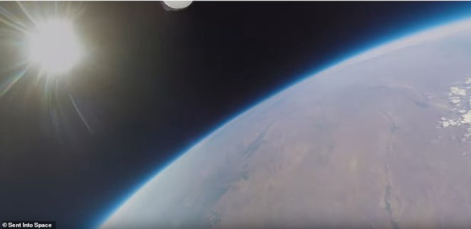 The cameras attached to the balloon were also able to gather footage of showing the Earth's curvature, the black void that is space and the thin blue line of the Earth's atmosphere on the horizon