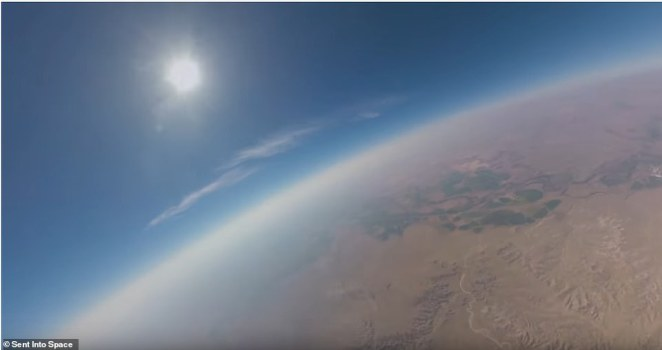 They launched a high altitude weather balloon filled with helium to an altitude exceeding 50km, timing the apex of the flight to coincide with totality. Using a series of cameras aligned with nanometer precision, they filmed 360 degrees of footage for three hours from launch