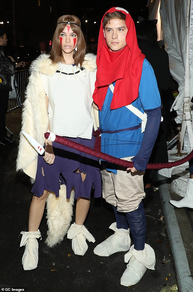 Cute couple: Barbara Palvin and Dylan Sprouse pose together at Heidi's Halloween party in New York
