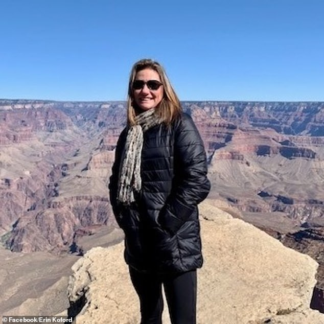 Erin said that Emily was walking backwards in an attempt to get her mother's entire body into the frame while taking a photo of her. This image of Erin was posted two days after the incident and appears to have been taken at the Grand Canyon