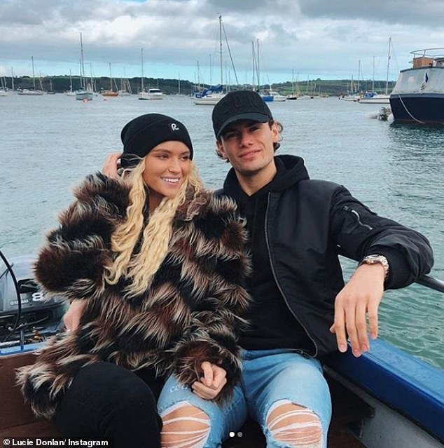 Loved up: Lucie's Love Island relationship with Joe was short lived, with him being dumped from the villa after just two weeks on the show, but they're now back together