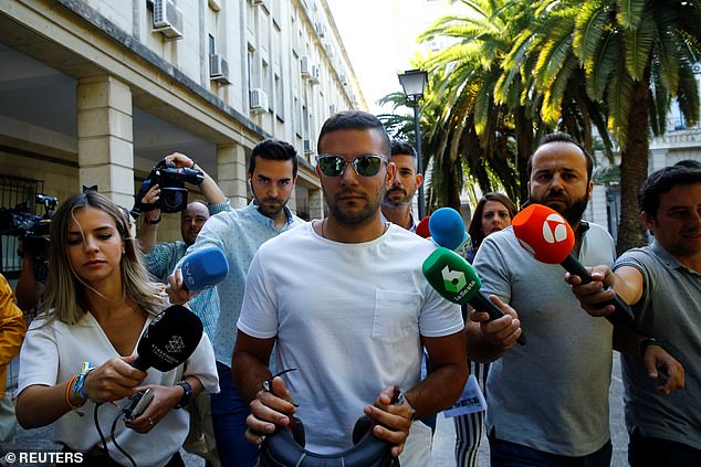 Angel Boza, pictured, a member of the group known as the 'Wolf Pack' exits a courthouse in Seville in June 2019  (File image)