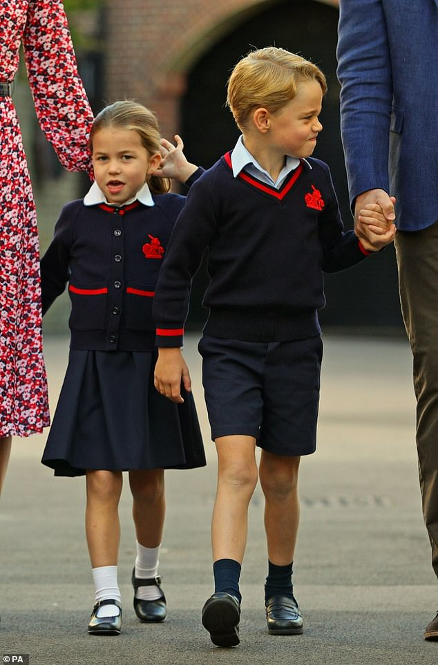 Royal fans couldn't help but notice how similar Princess Diana's niece looked to Princess Charlotte (pictured on her first day of school in September)