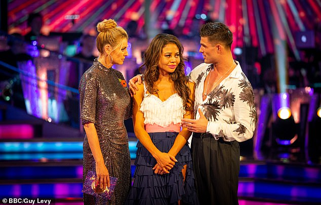 She's out! Viscountess Emma Weymouth (C) became the sixth celeb to depart the dancefloor as Mike Bushell was saved for a second time in two weeks during Sunday's results show