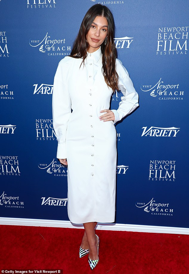 Angelic in white: Camila Morrone cut a chic look in white Sunday as she was recognized at Newport Beach Film Festival's Fall Honors