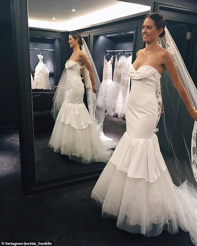 'I will always treasure this day': Jesinta Franklin shares never-before-seen photos from her wedding dress fitting with Vera Wang in NYC to mark third anniversary with husband Buddy (Pictured: Jesinta's first dress fitting in 2015 without designer Vera)