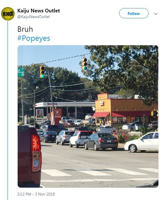 This Twitter user shared a picture of the long line that stretched onto the street of their local Popeyes