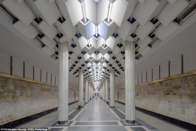 The futuristic design of its ceiling characterises Ulduz, a metro station in Baku, the capital of Azerbaijan, which opened in 1970. The Baku Metro has many features typical of the former Soviet Union, including very deep central stations and exquisite decorations that blend traditional Azerbaijani national motifs with Soviet ideology. New trains are gradually replacing the old Soviet ones, and plans are underway to build 53 new stations by 2030, increasing the number of lines from two to five