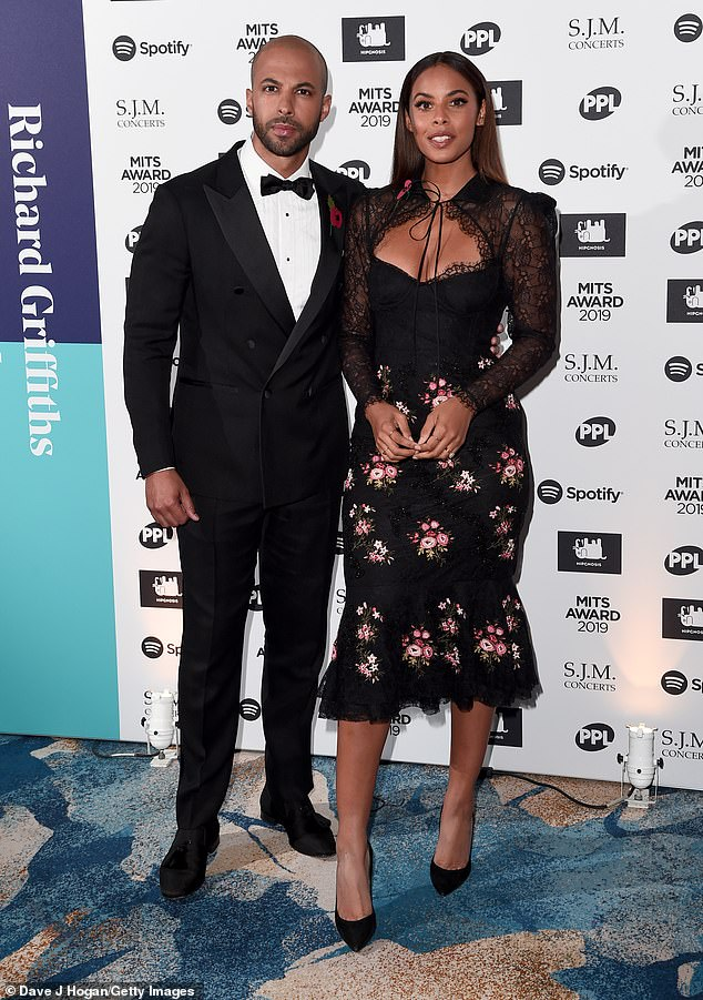 Date night: Rochelle and Marvin Humes returned home from Dubai as they attended the Music Industry Awards Gala 2019, held at The Grosvenor House Hotel in London on Monday