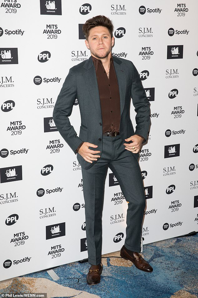 Sleek: Former One Direction star Niall Horan looked dapper in a slick grey suit, teamed with brown loafers and a matching shirt