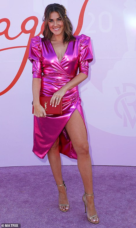 And they're off! The Bachelorette's Georgia Love turned heads in a shiny pink frock as she led he celebrity arrivals at The Melbourne Cup 2019 in Flemington on Tuesday