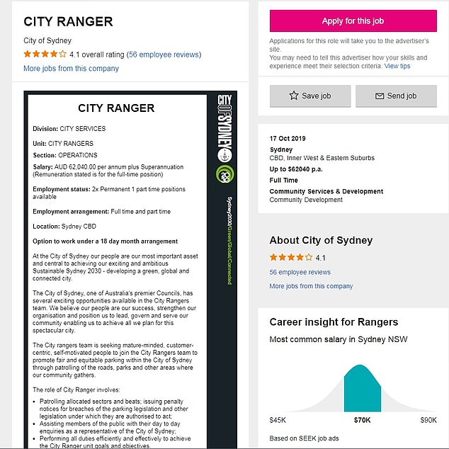 A listing for 'the most hated job in Australia' has landed on employment website Seek, looking for applicants to become Sydney's newest parking rangers