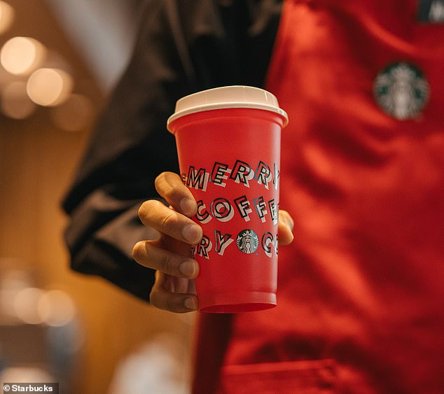 Eco-conscious: Starbucks is also bringing back its reusable offering this year, which customers can snag for free with the purchase of any holiday beverage on November 7