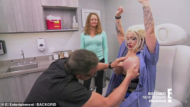 Not worth it:Dr. Dubrow warned that if she tries to go under the knife, even to make her breast implants smaller, she puts her self at risk for skin death and nipple loss