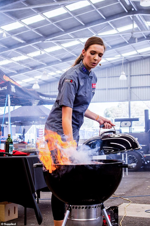 Ms Romeo who is the first Weber grill expert outside of the US (pictured hosting one of her barbecue demonstrations in front of a crowd at one of the Australian Grill Academy Events)