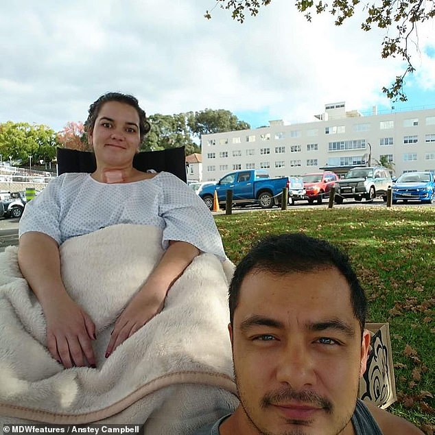 Ms Campbell was diagnosed withGuillain-Barre Syndrome (GBS) in January after her GP thought she might just be suffering from anxiety (pictured with her husband Levi)
