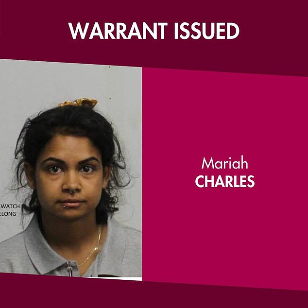 Charles replied to the post showing her mugshot (pictured) four minutes after her photo was shared