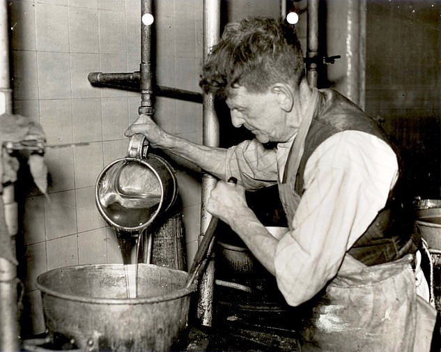The mint balls (pictured, being made) are made frompure cane sugar, oil of peppermint and cream of tartar