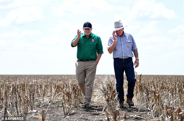 Farmers are set to receive interest-free loans of up to $2million as Australia battles the worst-ever drought. Prime Minister Scott Morrison has announced those on the land will be receiving funds to feed and transport their cattle and sheep, irrigate their crops and pay their farmhands (pictured is Mr Morrison, left, with farmer David Goodingt at Dalby, Queensland)